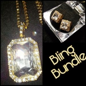 Other - Iced Out Crystal Necklace & Earrings